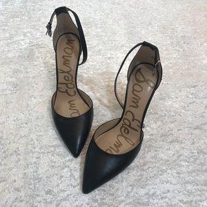 EUC Sam Edelman Harlow Leather Strap Heels Black